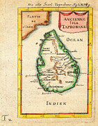 Vintage Map Paintings - 1686 Mallet Map of Ceylon or Sri Lanka Taprobane Geographicus Taprobane mallet 1686 by MotionAge Art and Design