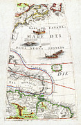 Old Map Paintings - 1688 Coronelli Globe Gore Map of NE North America the West Indies and NE South America Geographicus  by MotionAge Art and Design