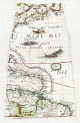 Boston Mountain Prints - 1688 Coronelli Globe Gore Map of NE North America the West Indies and NE South America Print by Paul Fearn