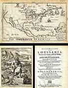 Continents Painting Framed Prints - 1688 Hennepin First Book and Map of North America first printed map to name Louisiana Geographicus N Framed Print by MotionAge Art and Design