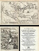 Great American Past Time Prints - 1688 Hennepin First Book and Map of North America Print by Paul Fearn