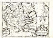 African Kingdoms Prints - 1690 Coronelli Map of Ethiopia Abyssinia and the Source of the Blue Nile Print by Paul Fearn
