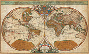 Multi Colored Paintings - 1691 Sanson Map of the World on Hemisphere Projection Geographicus World sanson 1691 by MotionAge Art and Design