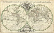 Proportions Of Man Posters - 1691 Sanson Map of the World on Hemisphere Projection Poster by Paul Fearn