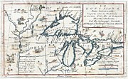 Cartography Paintings - 1696 Coronelli Map of the Great Lakes Most Accurate Map of the Great Lakes in the 17th Century Geogr by MotionAge Art and Design