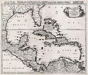 Undersea.  Framed Prints - 1696 Danckerts Map of Florida the West Indies and the Caribbean Framed Print by Paul Fearn