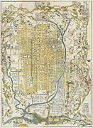 Cartography Paintings - 1696 Genroku 9 early Edo  Japanese Map of Kyoto Japan Geographicus Kyoto genroku9 1696 by MotionAge Art and Design