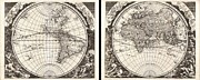 North American Inland Sea Framed Prints - 1696 Zahn Map of the World in Two Hemispheres Framed Print by Paul Fearn