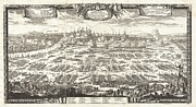 Old Map Paintings - 1697 Pufendorf View of Krakow Cracow Poland Geographicus Krakow pufendorf 1655 by MotionAge Art and Design