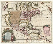 Multi Colored Paintings - 1698 Louis Hennepin Map of North America Geographicus NorthAmerica hennepin 1698 by MotionAge Art and Design