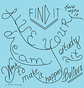 Inspire Drawings - #16BPD Live Your Dream Art Print by Printed Drawings