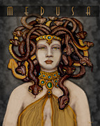 Medusa Metal Prints - 16x20 Old Hollywood Medusa Black Metal Print by Dia T
