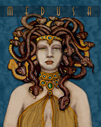 Medusa Metal Prints - 16x20 Old Hollywood Medusa Blue Metal Print by Dia T