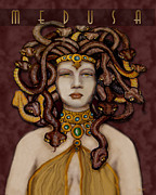 Medusa Metal Prints - 16x20 Old Hollywood Medusa Brown Metal Print by  Dia T