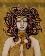 Medusa Posters - 16x20 Old Hollywood Medusa Gold Poster by  Dia T