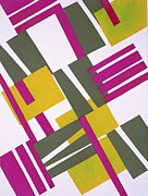 Vibrant Colors Drawings Prints - Design from Nouvelles Compositions Decoratives Print by Serge Gladky
