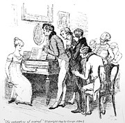 Playing Drawings - Scene from Pride and Prejudice by Jane Austen by Hugh Thomson