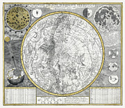Old Map Framed Prints - 1700 Celestial Planisphere Framed Print by Daniel Hagerman