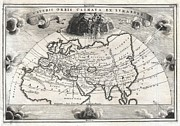 Northern Africa Framed Prints - 1700 Cellarius Map of Asia Europe and Africa according to Strabo Framed Print by Paul Fearn