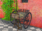 Color Pencil Drawings - 1700s Cart by Lew Davis