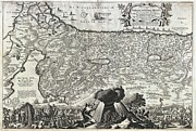River.etc. Framed Prints - 1702 Visscher Stoopendaal Map of Israel Framed Print by Paul Fearn