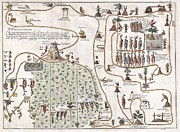 1704 Framed Prints - 1704 Gemelli Map of the Aztec Migration from Aztlan to Chapultapec Framed Print by Paul Fearn