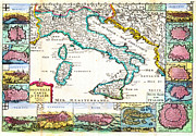 Cartography Paintings - 1706 de la Feuille Map of Italy Geographicus Italy lafeuille 1706 by MotionAge Art and Design - Ahmet Asar