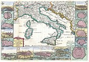 Voyageurs Metal Prints - 1706 de la Feuille Map of Italy Metal Print by Paul Fearn