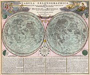 Neil Armstrong The Moon Framed Prints - 1707 Homann and Doppelmayr Map of the Moon  Framed Print by Paul Fearn