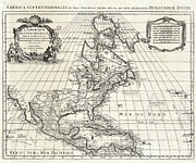 Vintage Map Paintings - 1708 De Llsle Map of North America Covens and Mortier ed Geographicus AmeriqueSeptentrionale covensm by MotionAge Art and Design - Ahmet Asar