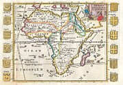 African Kingdoms Prints - 1710 De La Feuille Map of Africa Print by Paul Fearn