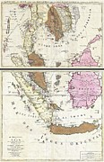 Between The Two Posters - 1710 Ottens Map of Southeast Asia Singapore Thailand Siam Malaysia Sumatra Borneo Poster by Paul Fearn