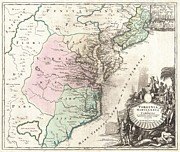 Northwestern Indian Prints - 1715 Homann Map of Carolina Virginia Maryland and New Jersey Print by Paul Fearn