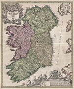 Goddess Of Death Framed Prints - 1716 Homann Map of Ireland Framed Print by Paul Fearn