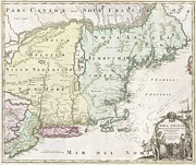 Rhode Island Map Prints - 1716 Homann Map of New England Print by Paul Fearn