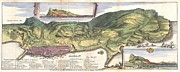 1704 Framed Prints - 1720 De La Feuille Map and View of Gibraltar Framed Print by Paul Fearn