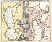 Between The Two Posters - 1725 Homann Map of the Caspian Sea and Kamchatka Poster by Paul Fearn