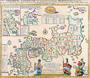 Vintage Map Photos - 1727 map of Japan by Vintage Maps