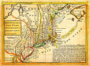 Geography Painting Prints - 1729 Moll Map of New York New England and Pennsylvania First Postal Map of New England Geographicus  Print by MotionAge Art and Design - Ahmet Asar
