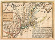 Rhode Island Map Prints - 1729 Moll Map of New York New England and Pennsylvania  Print by Paul Fearn