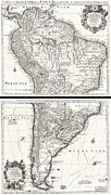Pierced Ears Posters - 1730 Covens and Mortier Map of South America Poster by Paul Fearn