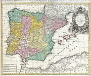 Northern Africa Framed Prints - 1730 Homann Map of Spain and Portugal Framed Print by Paul Fearn