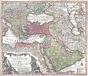 Map Of The Hand Posters - 1730 Seutter Map of Turkey Ottoman Empire Persia and Arabia Poster by Paul Fearn