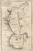 Undersea.  Prints - 1730 Van Verden Map of the Caspian Sea Print by Paul Fearn