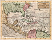South West France Framed Prints - 1732 Herman Moll Map of the West Indies and Caribbean Framed Print by Paul Fearn