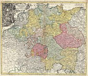 Allemagne Posters - 1740 Homann Map of the Holy Roman Empire Poster by Paul Fearn