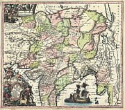 1740 Seutter Map Of India Pakistan Tibet And Afghanistan Print by Paul Fearn