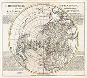 Not In Service Photos - 1741 Covens and Mortier Map of the Northern Hemisphere  North Pole Arctic by Paul Fearn