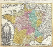 Confronting Art - 1741 Homann Heirs Map of France by Paul Fearn