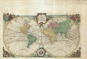 Just Right For; Posters - 1744 Bowen Map of the World in Hemispheres Poster by Paul Fearn